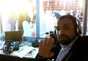 Adel assists with interpreting at the International Civil Defense Day Conference in Abu Dhabi