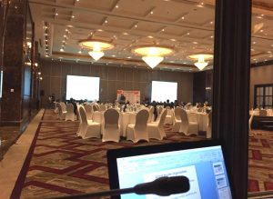 View from the Interpreter's Booth - getting set for Empowering Youth through Education Summit